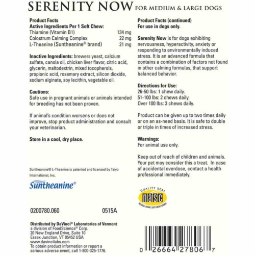 DaVinci Labs Serenity Now Chews, 60 ct, label