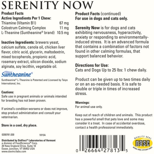 DaVinci Labs Serenity Now Chews (Cats and Small Dogs) Label