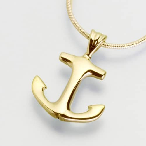 Anchor Cremation Pendant, yellow gold, 217YG