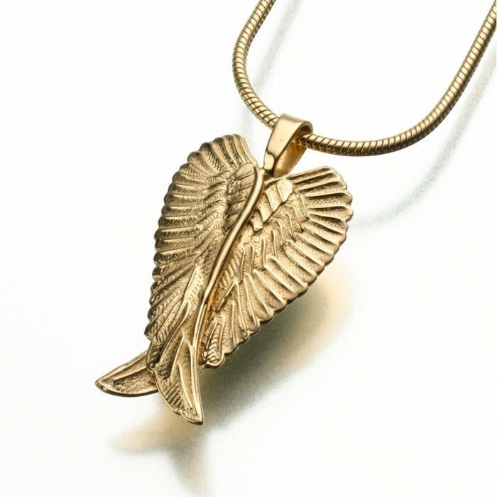 Angel Wings Cremation Pendant, god vermeil, 185GV
