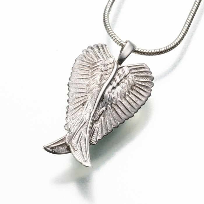Angel Wings Cremation Pendant, white gold, 185WG