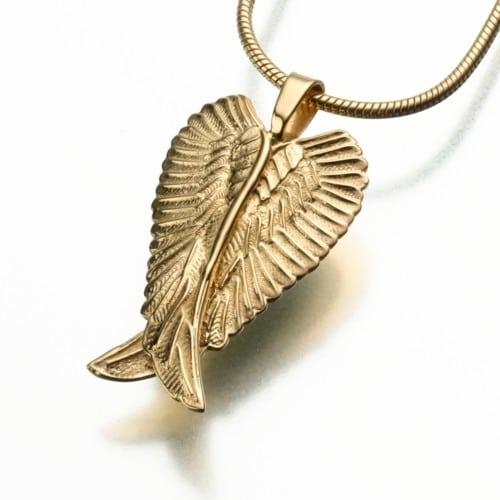 Angel Wings Cremation Pendant, yellow gold, 185YG