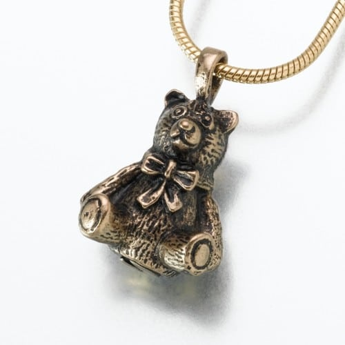 Antique Teddy Bear Cremation Pendant, bronze, 125BZ