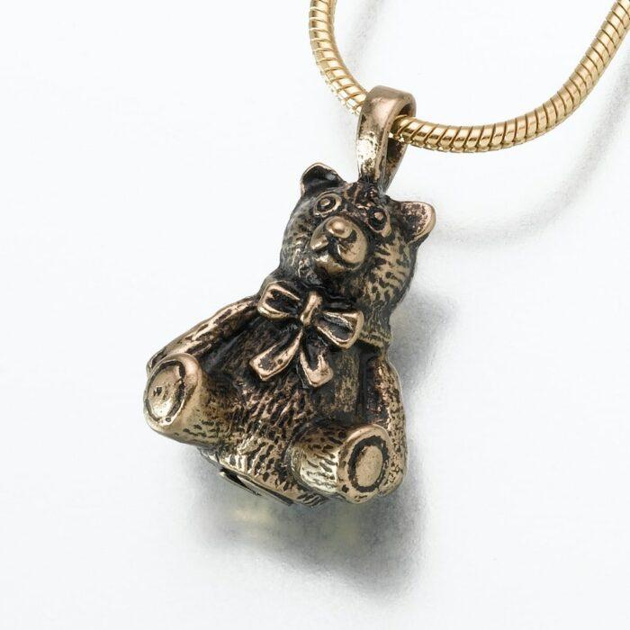 Antique Teddy Bear Cremation Pendant, bronze, 125BZ