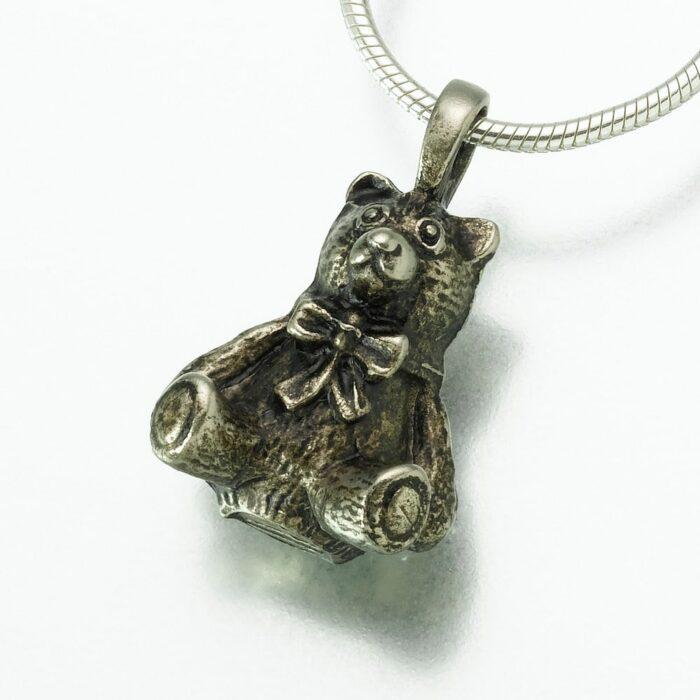 Antique Teddy Bear Cremation Pendant, white bronze, 125WB