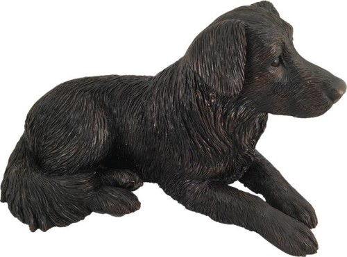 Border Collie bronze look large dog figurine cremation urn