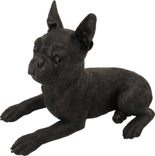 Boston Terrier bronze look large dog figurine cremation urn