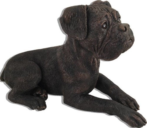 Boxer, ears down bronze look large dog figurine cremation urn