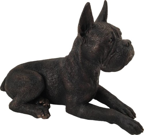 Boxer, ears up bronze look large dog figurine cremation urn