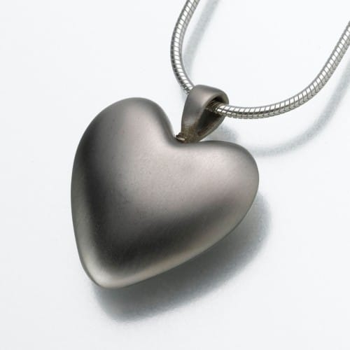 Bronze Heart Cremation Pendant, white bronze, 111WB