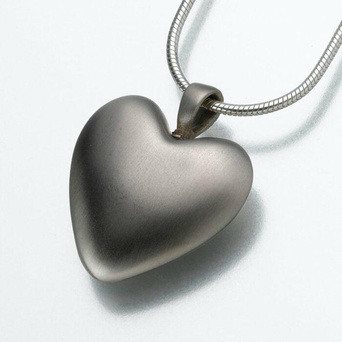 Bronze Heart Cremation Pendant, white bronze, 111WB