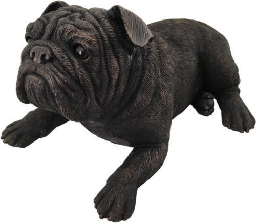 Bulldog dog bronze look large figurine cremation urn