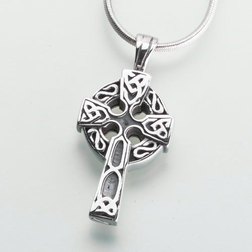 Celtic Cross Cremation Pendant, white gold, 203WG