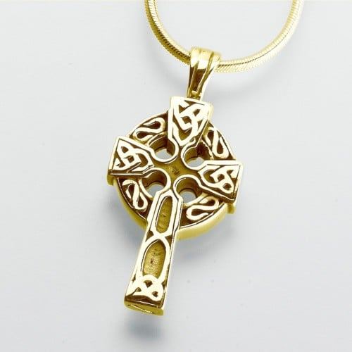 Celtic Cross Cremation Pendant, yellow gold, 203YG