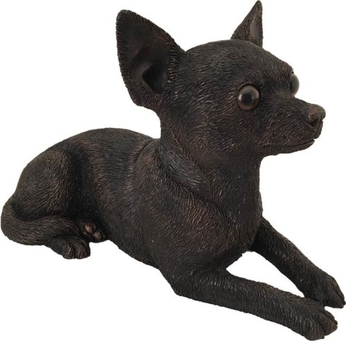 Chihuahua dog bronze look large figurine cremation urn