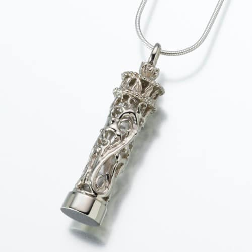 Cylinder Cremation Pendant w/ Glass Insert, white gold, 127