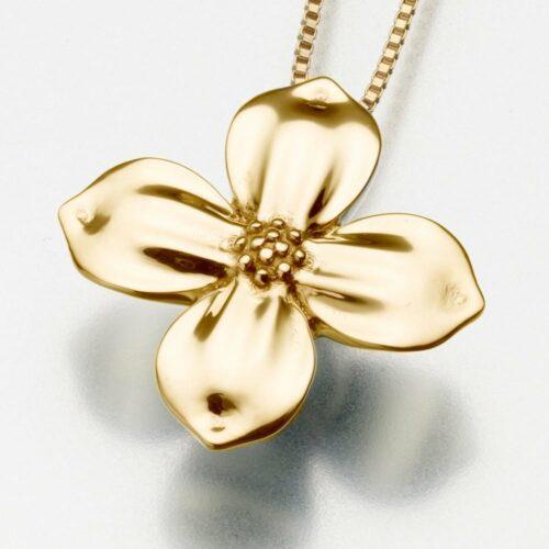 Dogwood Blossom Cremation Pendant, yellow gold, 196YG