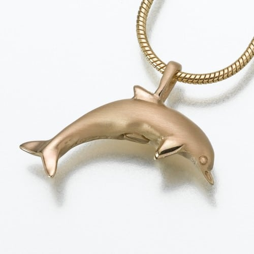 Dolphin Cremation Pendant, yellow gold, 162YG