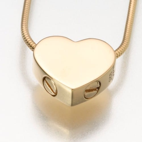 Double Chamber Slide Heart Cremation Pendant, gold vermeil, 169GV