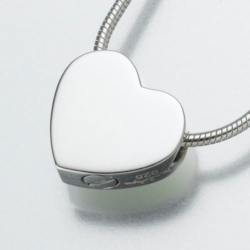 Double Chamber Slide Heart Cremation Pendant, sterling silver, 169SS