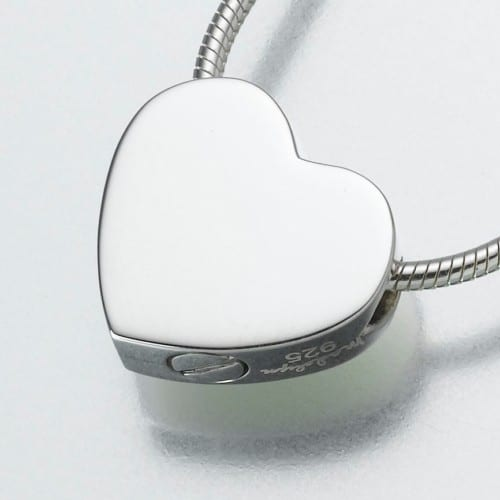 Double Chamber Slide Heart Cremation Pendant, white gold, 169WG