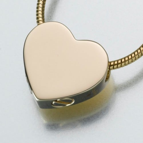 Double Chamber Slide Heart Cremation Pendant, yellow gold, 169YG