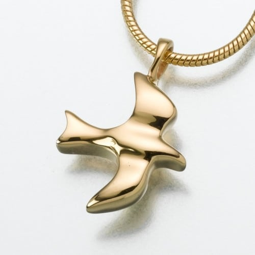 Dove Cremation Pendant, yellow gold, 159YG