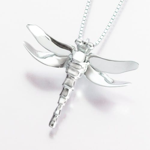 Dragonfly Cremation Pendant, white gold, 165WG