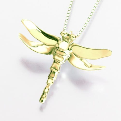 Dragonfly Cremation Pendant, yellow gold, 165YG