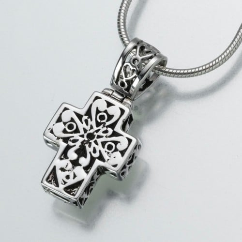 Filigree Cross Cremation Pendant, sterling silver, 143SS
