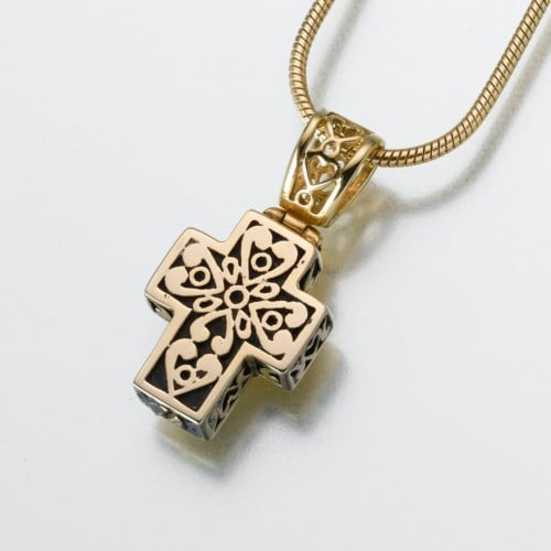 Filigree Cross Cremation Pendant, yellow gold, 148YG