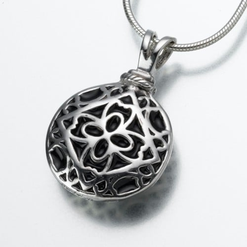 Filigree Round Cremation Pendant, white gold, 160WG