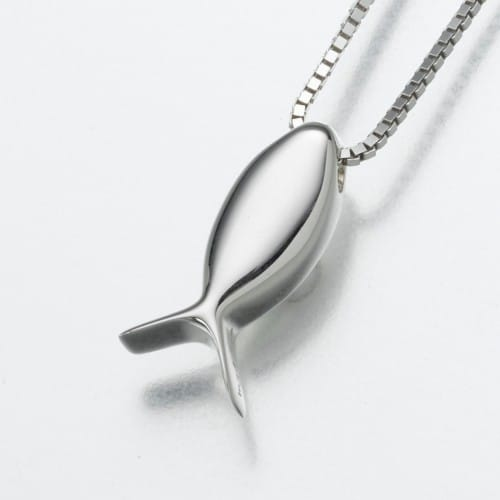 Fish (Ichthus) Cremation Pendant, white gold, 183WG