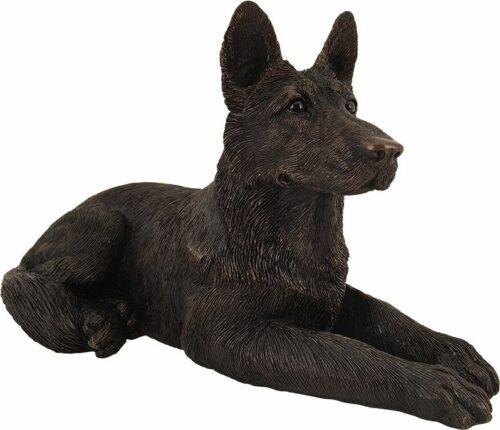 German Shepherd dog bronze look large figurine cremation urn