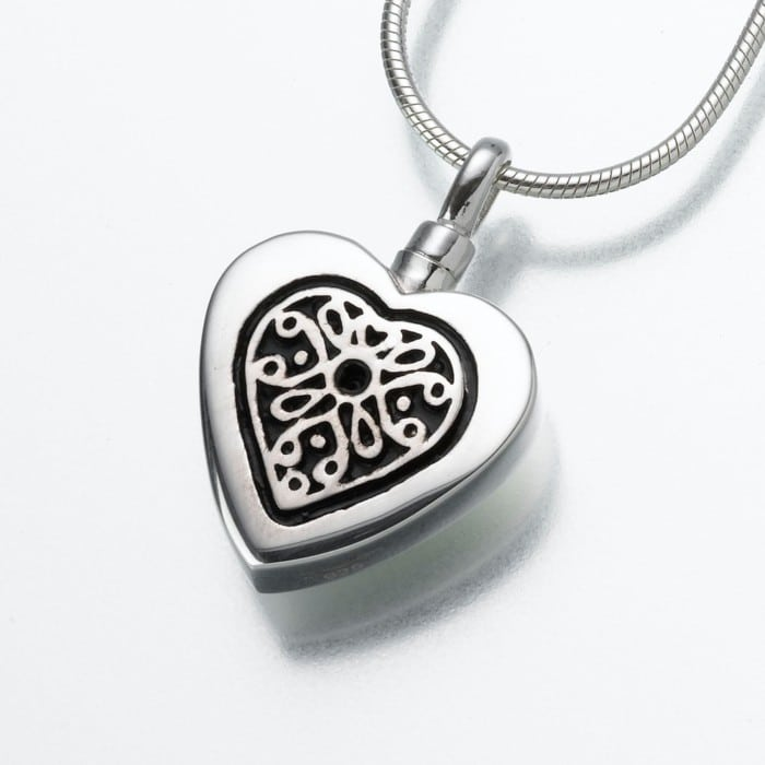Heart Cremation Pendant with Filigree Insert, sterling silver, 161SS