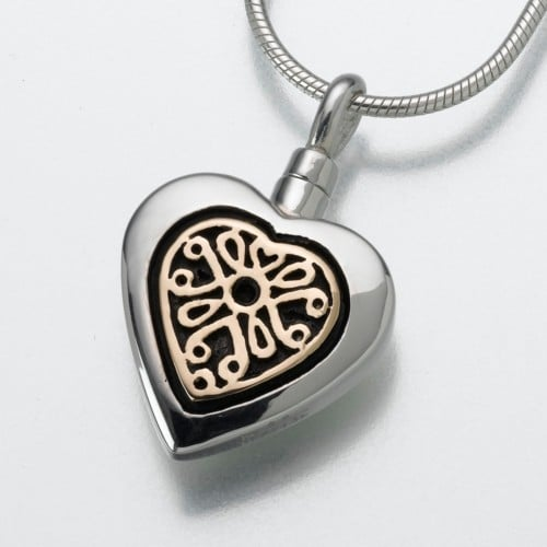 Heart Cremation Pendant with Filigree Insert, Sterling silver with gold, 161SK