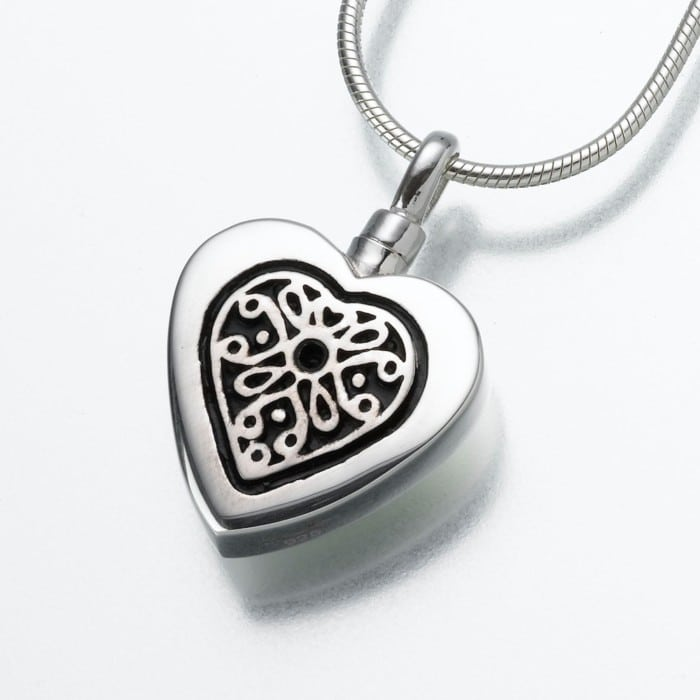 Heart Cremation Pendant with Filigree Insert, white gold, 161WG