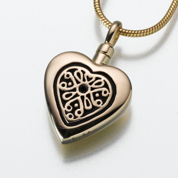 Heart Cremation Pendant with Filigree Insert, yellow gold, 161YG