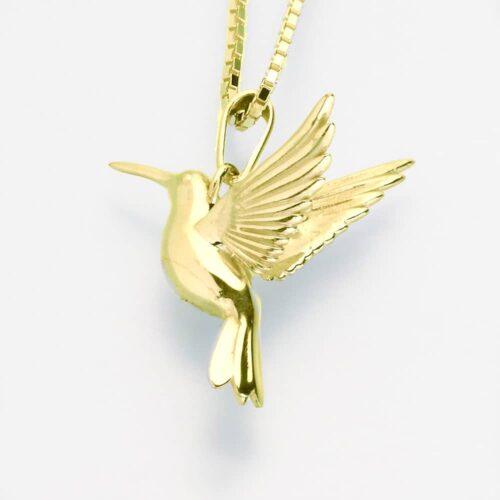 Hummingbird Cremation Pendant, yellow gold, 215YG