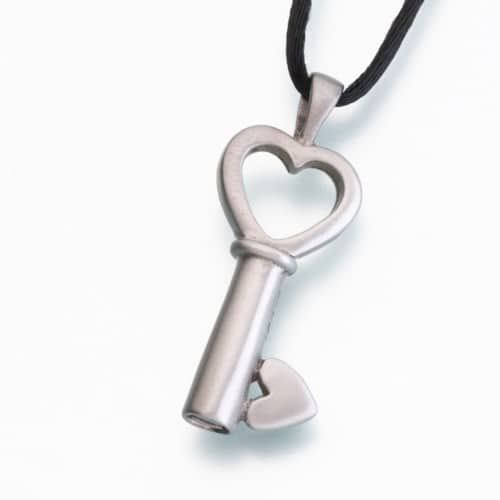 Key to My Heart Cremation Pendant, white bronze, 218WB