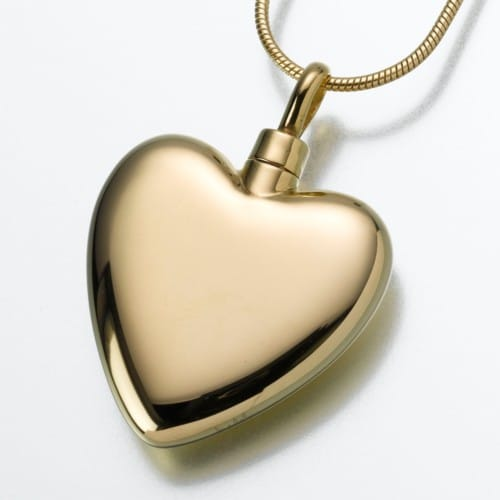 Large Heart Cremation Pendant, gold vermeil, 106GV