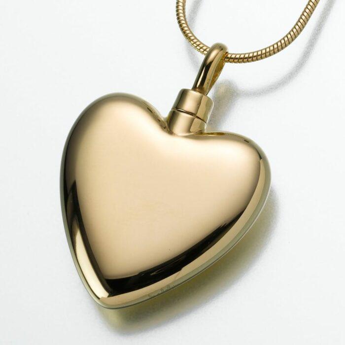 Large Heart Cremation Pendant, gold vermeil, 106GV