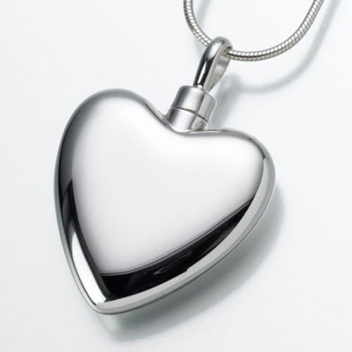 Large Heart Cremation Pendant, sterling silver, 106SS