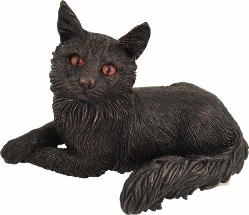 Long Haired cat bronze look large figurine cremation urn