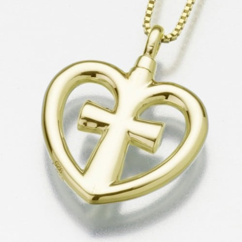 Love Cross Cremation Pendant, gold vermeil, 198GV