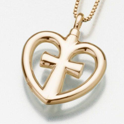 Love Cross Cremation Pendant, yellow gold, 198YG