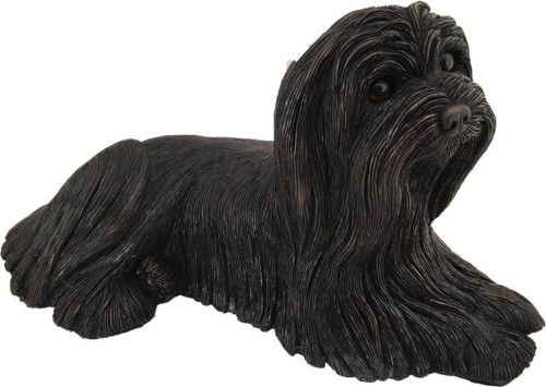 Maltese dog bronze look large figurine cremation urn
