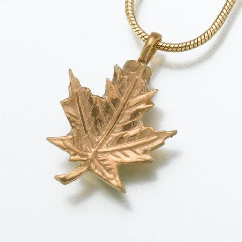 Maple Leaf Cremation Pendant, gold vermeil, 154GV