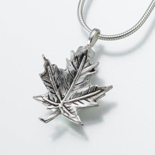 Maple Leaf Cremation Pendant, sterling silver, 154SS