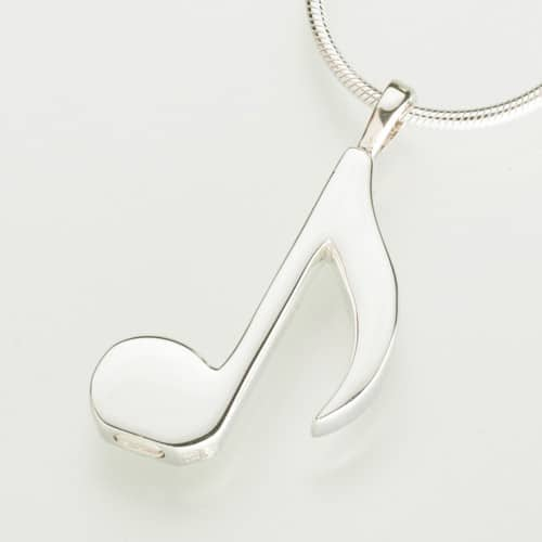 Musical Note Cremation Pendant, white gold, 202WG
